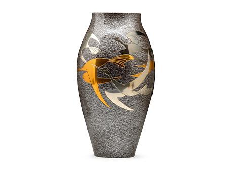 高冈铜器 细壶形千羽鹤花瓶
