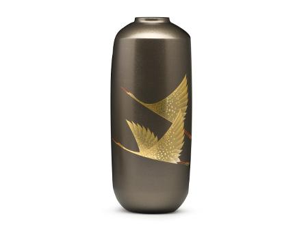 高冈铜器 正晴造铸铜时绘双鹤花瓶