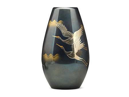 高冈铜器 蓝天 砲形双鹤花瓶