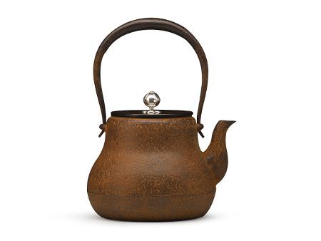 清光堂 瓢形铁壶(铜盖银摘)