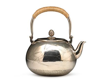 小笠银器 纯银竹叶纹银壶