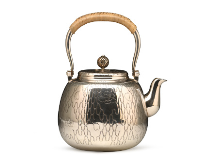 小笠银器 纯银樱川纹银壶