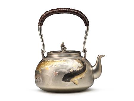 大渊银器 雕金鲤鱼银壶(5寸)